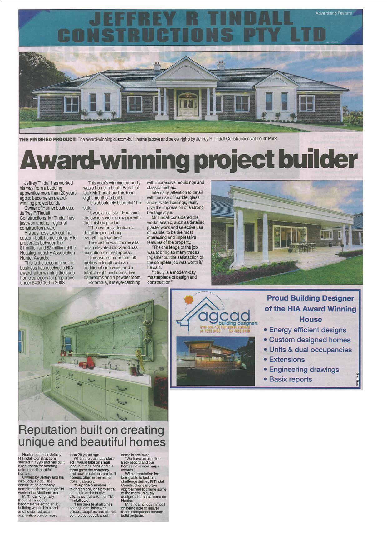 Housing Industry Association Hunter Awards- and the winning Design is.......... An Agcad Custom Design